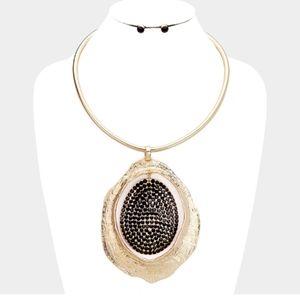 Rhinestone Pave Texture Necklace